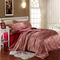 Buy cheap Blooming Flowers And Full Moon Wine Silk Duvet Cover Set Silk Bedding from wholesalers