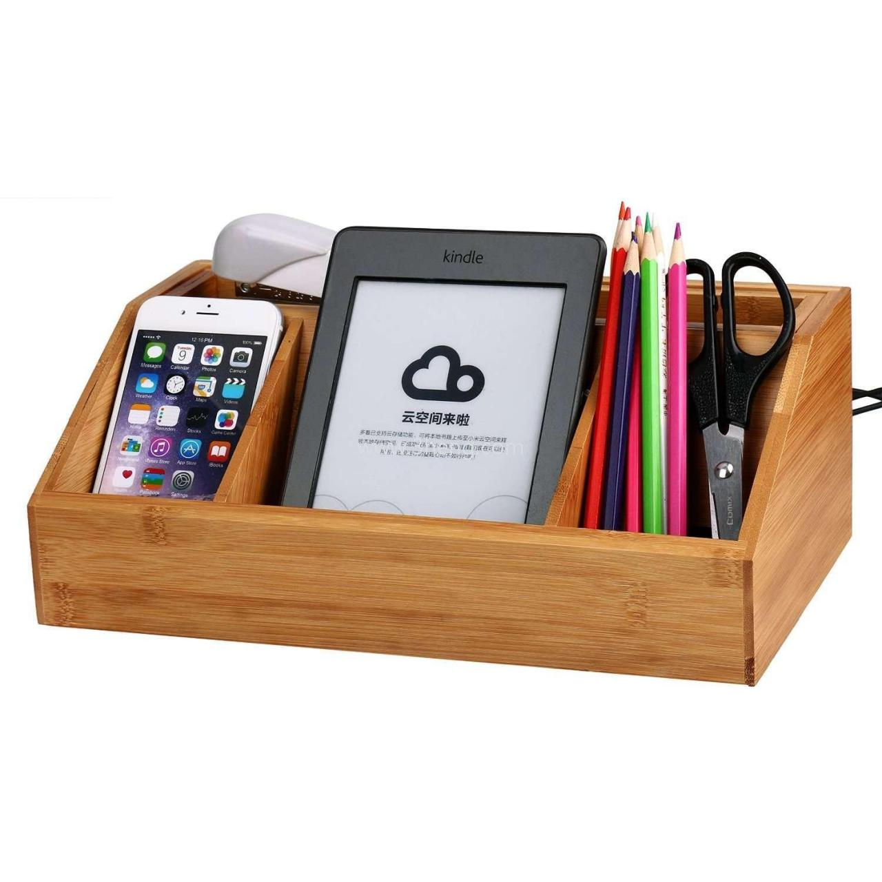 Buy cheap Natural Bamboo Multifunctional Charging Station /Desk Organizer Storage Compartment from wholesalers