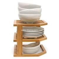 Buy cheap Bamboo 3-Tier Corner Shelf with bowl holder product