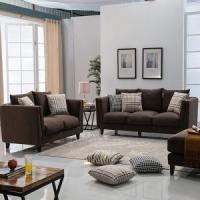 Buy cheap Linen Sofas Solid Wood Brown Fabric Upholstery Sofa Set from wholesalers