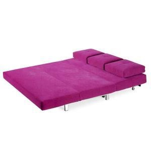 Buy cheap DayBed 3-Seater Folding Purple Fabric Futon Sofa Bed from wholesalers