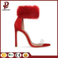 Buy cheap red fur high heel sweet ankle sandals from wholesalers