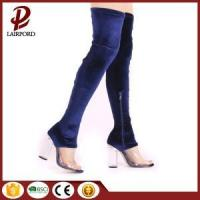 Buy cheap Blue suede PVC stitching over knee booties from wholesalers