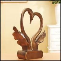 Buy cheap Rustic Wedding Decor Resin bronze swan sculpture With Couple design for beach decor from wholesalers