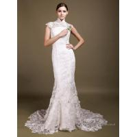 Buy cheap Standing Collar Backless hem Tailing Wedding Dress with Lace from wholesalers