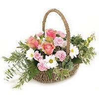 Flowers White and Pink Flower Basket