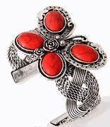 Buy cheap Jewelry Close Outs Red Coral Butterfly Cuff Bracelet from wholesalers