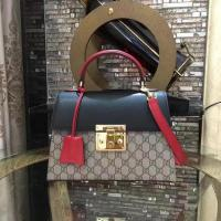 Buy cheap Gucci Padlock Gucci Signature Top Handle Bag 453188 Black&Red from wholesalers