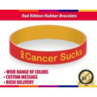 Buy cheap Red Ribbon Dual Layer Rubber Bracelets for Cancer and Charity from wholesalers