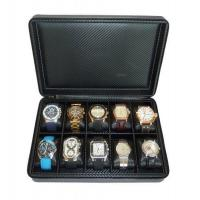 """Buy cheap 10 Watch Briefcase Black Carbon Fiber Zippered Travel Storage Case 50MM Men""""s Gift $44.99 from wholesalers"""