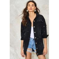Buy cheap Boyfriend Loose Jacket Casual Denim Jacket Black Oversized Jacket from wholesalers