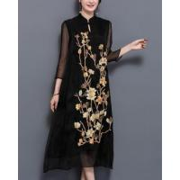 Buy cheap Loose embroidery long real silk organza spring dress from wholesalers