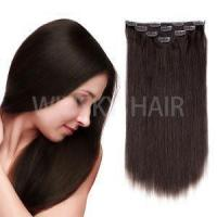 "Buy cheap 18""Clip in Hair Extensions Brazilian Human Hair for Women 50g 4Pcs Dark Brown #2 Color product"
