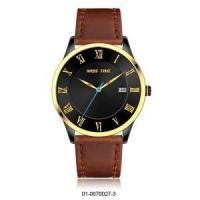 Buy cheap luxury japanese movement leather stainless steel black quartz watch from wholesalers