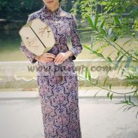 Buy cheap Purple floral thick cotton flocking cheongsam retro long sleeve winter qipao from wholesalers
