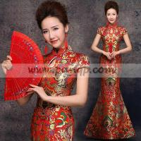 Buy cheap Golden dragon brocade red mandarin collar Chinese wedding dress from wholesalers