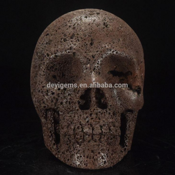 Beautiful inch natural red lava rock stone carving skull