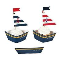 Buy cheap Nautical Baby Boy Shower Cupcake Collars and Picks Decoration Set - 50 units from wholesalers