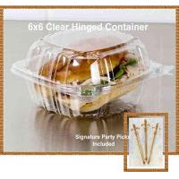Buy cheap Pack of 100 Small Clear Plastic Hinged Food Container 6x6 for Sandwich Salad Party Favor Cake Piece from wholesalers