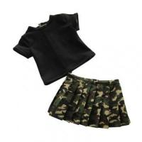 Buy cheap 18 Inch Dolls Custom army green doll skirt and T-shirt suit 18 doll clothes wholesale from wholesalers