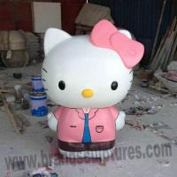 Buy cheap Giant Pink Painted Fiberglass Kitty Sculpture as Park Decoration from wholesalers