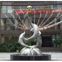 Buy cheap Outdoor Fountains Garden Dolphins Stainless Steel Sculptures from wholesalers