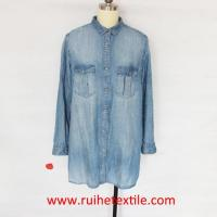 Buy cheap Casual Women Denim Shirt Long Sleeve Jean Shirt for Ladies from wholesalers