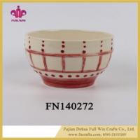 Buy cheap Ceramic Salad Bowl with Lid and Hands Food Safe Restaurant Bowl from wholesalers