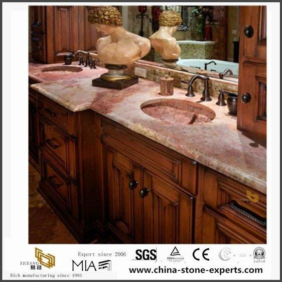 Quality Prefab Natural Red Coral Marble Countertops for Kitchen and Bathroom Design for sale