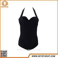 Buy cheap Swimsuit Company Women Black Mature One Piece Swimwear Nylon Figure Girl Beachwear from wholesalers