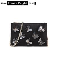 2017 factory designer butterflies decorative leather shoulder bag with chain