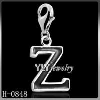 rhodium plated silver letter charms, brass letter charms H-0848