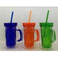 Buy cheap BPA Free Double Wall Plastic Mason Jar With Plastic Lid And Handle from wholesalers