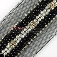 Buy cheap Beaded rhinestone lace trim wholesale from wholesalers