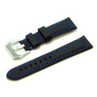 Buy cheap Watch Bands Heiden Carbon Fiber Style Leather Watch Band - Black w/ Blue from wholesalers
