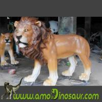 Buy cheap Fiberglass animals male lion for wildlife park statue from wholesalers