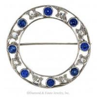 Buy cheap Marcus & Co. Edwardian Blue Sapphire and Rose-Cut Diamond Circle Brooch. from wholesalers