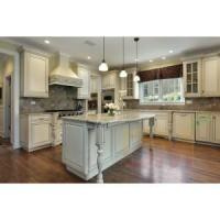 Buy cheap White painted Kitchen Cabinet with Grey Kitchen Island from wholesalers