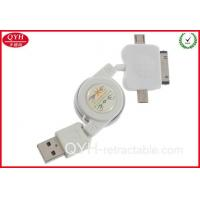 China White Color 30PIN+MINI+MICRO 3-IN-1 Retractable USB Charging on sale