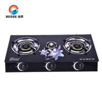 Buy cheap Kitchen Use Triple Burner Tempered Glass Table Top Cookware Gas Range from wholesalers