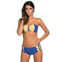 Buy cheap New Arrivals Blue White Dots Bow Detail High Waist Bathing Suit from wholesalers