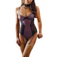 Buy cheap New Arrivals Black Sheer Lace Mesh Teddy with Garters from wholesalers