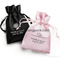 China Wholesale bulk personalized custom small black and pink satin wedding favor bags on sale