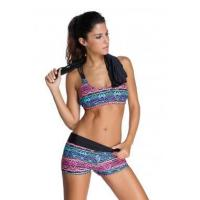 Buy cheap Multicolor Sports Bra Tankini Swimsuit with Black Vest LC41996-1 from wholesalers