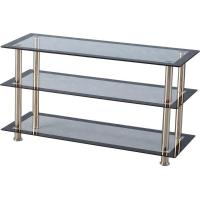 Buy cheap Harlequin TV Unit in Clear Glass/Black Border/Silver from wholesalers
