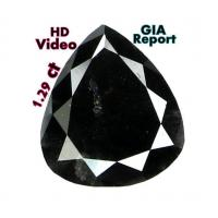 Buy cheap GIA CERTIFIED 1.29 Cts Natural Loose Diamond Pear Fancy Black L5447 from wholesalers