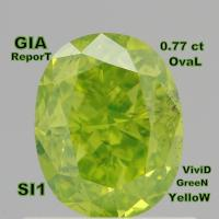 Buy cheap GIA CERTIFIED 0.77 Ct Fancy Vivid Yellow Green Oval Loose Diamonds L4056 from wholesalers