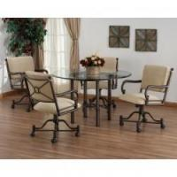 Buy cheap Tempo Like Bullseye Swivel Tilt Caster Burnet Dinette Set w 48 Round Glass Top by Callee from wholesalers