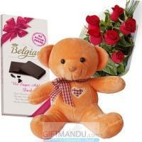 Buy cheap Belgian Chocolate Bar, Cute Teddy Bear and Roses - Belgian from wholesalers