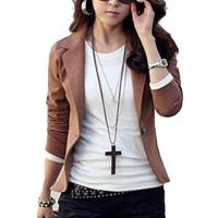 Buy cheap Creabygirls Womens Pure Color Lapel Slim Short Suit Office Blazer Jacket Coat,coffee,large from wholesalers